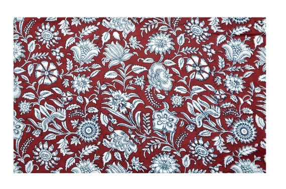 Indian Hand Screen Print Dressmaking Cotton Fabric Craft Sewing By 1//2.5 Yard
