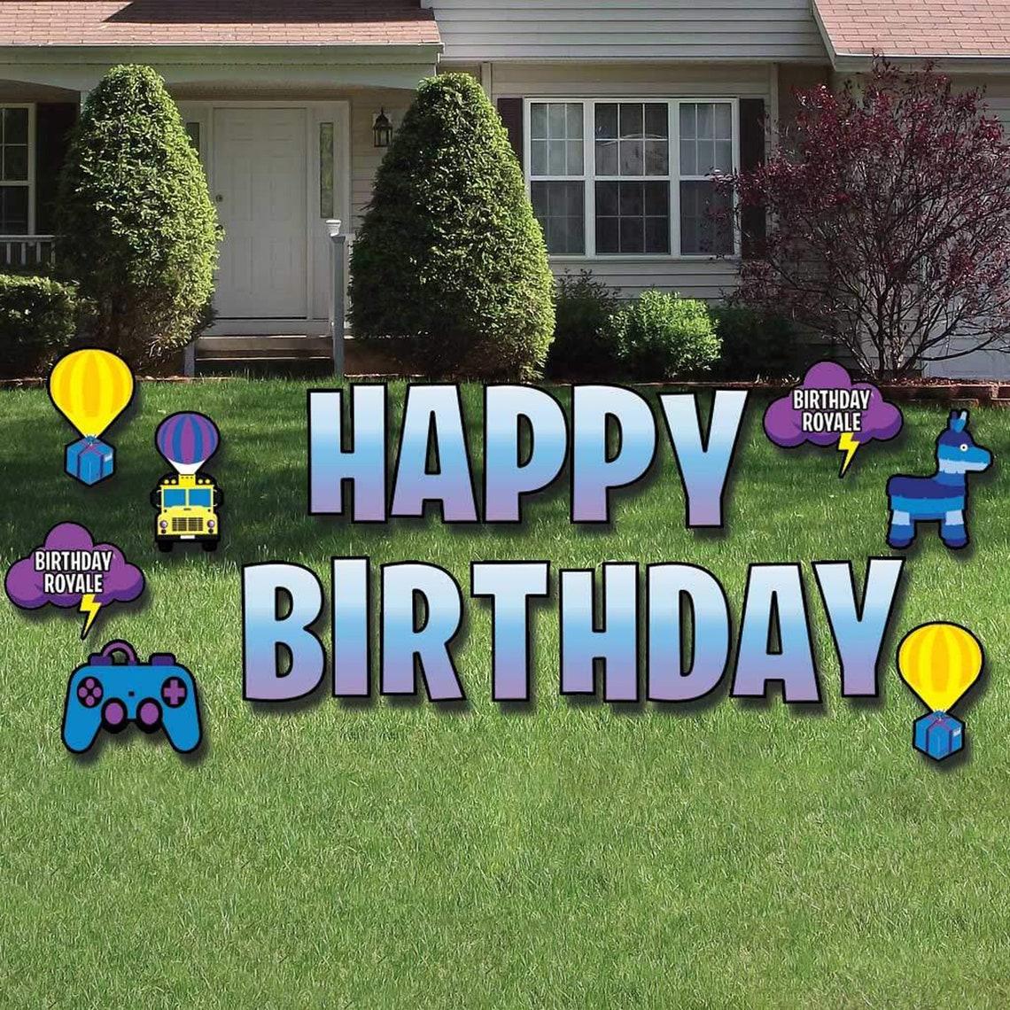 Battle Royale Happy Birthday 20pc Yard Card Decoration Set image 0