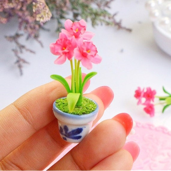 Yellow M Rose Clay Flower Doll House Miniature Plant Handmade Pot Collectible