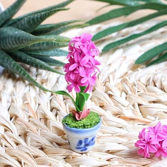Purple Pink Vanda Orchid Clay Flower Ceramic Pot Dollhouse Miniature Handmade