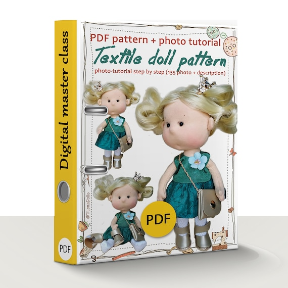 """PDF Doll Pattern 9"""" with sculpted face and body, PDF pattern cloth doll, Sewing doll PDF tutorial, Cloth dolls patterns soft sculpture"""