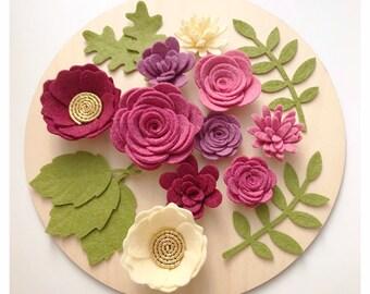 Aqua and Pink Handmade Flower Set ~ Felt Flowers ~ Wreaths ~ Wooden Decor