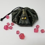 D&D Monster Eye Dice Bag - Green with an Apathetic Yellow Eye