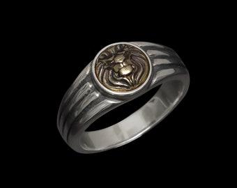 Art Deco Noble Lion - Slim Silver/Brass Ring
