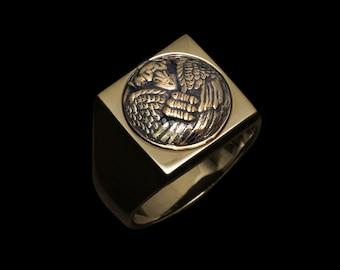 Mythic Tengu Charm - Silver/Brass Ring