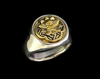 Samurai Bushido Charm - Silver/Brass  Ring | Skull, Lotus, Katana, Kamon, Japan