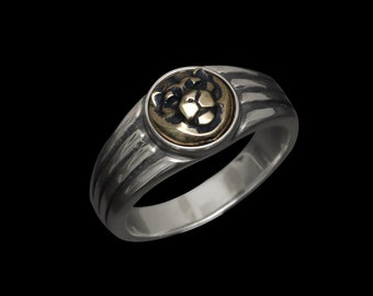 Art Deco How Honorable Tiger - Slim Silver/Brass Ring