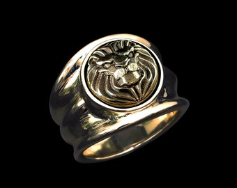 Art Deco Noble Lion - Silver/Brass  Ring