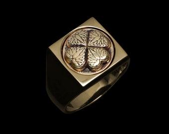 Samurai Lucky Clover - Silver/Brass Ring