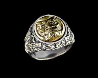 Fortune Daruma Charm - Silver/Brass  Ring
