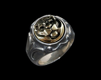 Art Deco Noble Tiger - Silver/Brass Ring