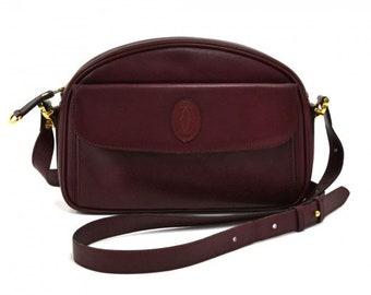 0a06f75dfbca Cartier Burgundy Calfskin Leather Front Pocket Crossbody Bag-Must de Cartier  Line