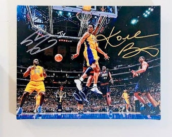 97b238f6bfc Kobe Bryant & Shaquille O'Neal Autographed RP 11x14 Canvas Print Wall Art
