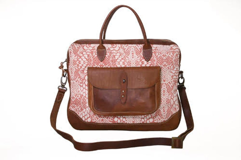 Welli Laptop Bag by SOSH 2 Colors available Linen /& Leather Bag