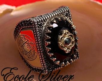 Seal Of Solomon Ring 925 Sterlingsilber Schwarzer Onyx Einzigartig Handgemacht