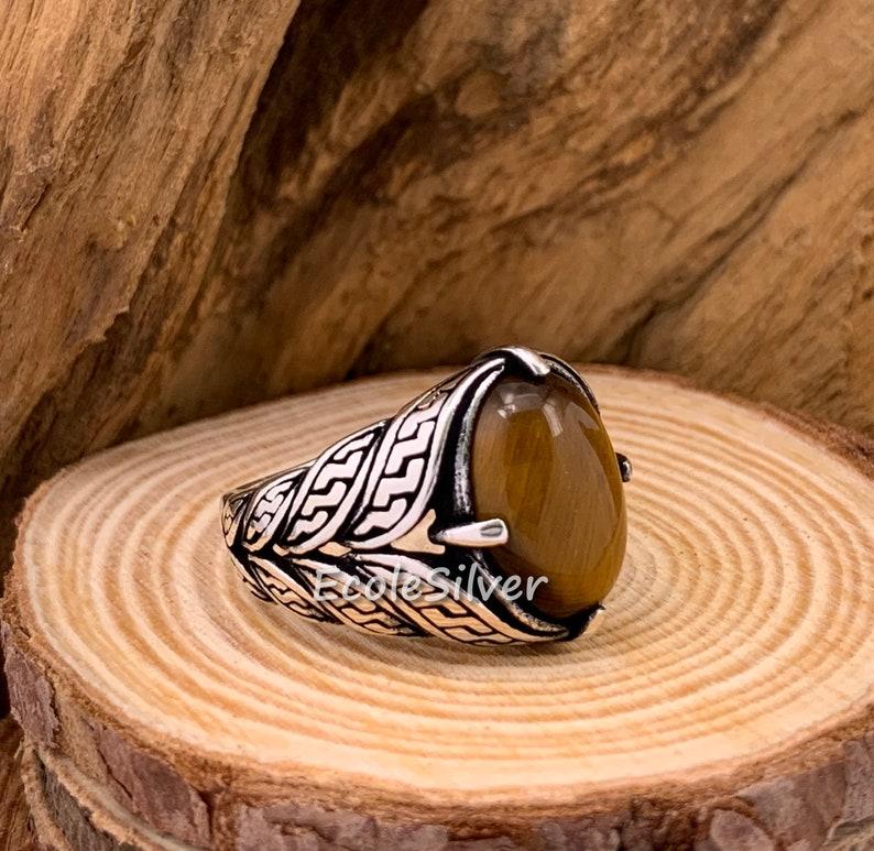 Tiger/'s Eye Stone Mens Ring,Sterling Silver Mens Ring,Tiger Eye Man Ring,Silver Tigers Eye Man Ring,Stone Mens Ring,925 Silver Man Ring