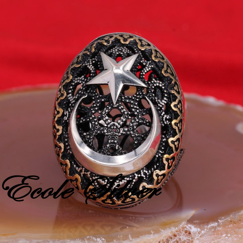 Silver Mens Ring with Moon And Star Crescent and Star Ring Sterling silver ring