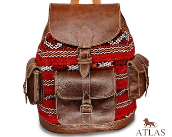 Womens leather backpack   Womens brown leather backpack   Leather backpack   Backpack Purse   Red Kilim backpack   Leather bag  Gift for her