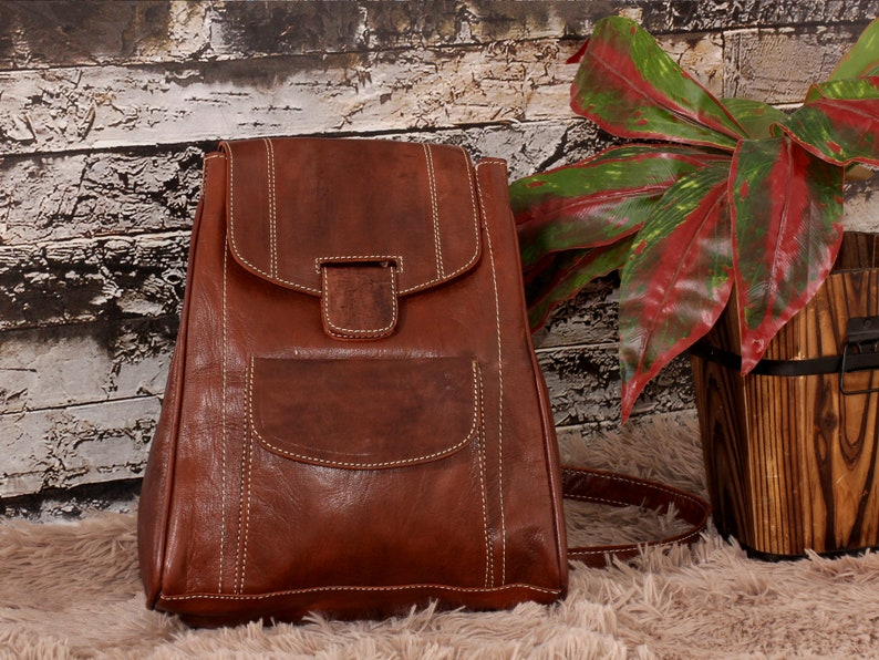 Moroccan Leather bag Leather Backpack Women Womens leather backpack School Backpack Men brown  Leather backpack Gift for her