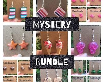 Mini earring mystery box [ mystery bundle, resin earrings, polymer clay, surprise box, funky earrings, novelty earrings, cute earrings ]