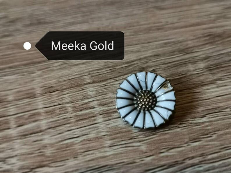 Denmark Silver and White Enamel Anton Michelsen Vintage Daisy Design Earrings 8g