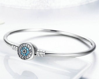 3d145fcfc Evil Eye Bracelet Silver With CZ Clasp, 925 Sterling Silver Bangle Bracelet  European Pandora Bracelet Charms, Evil Eye Jewelry Making