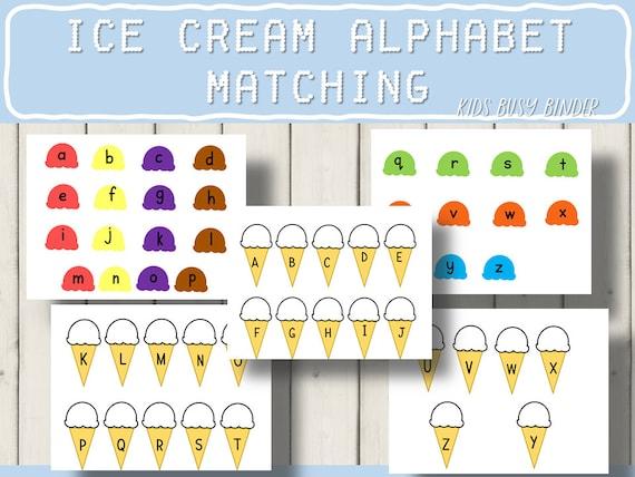 Upper and Lowercase Matching Ice Cream Cone Theme Alphabet