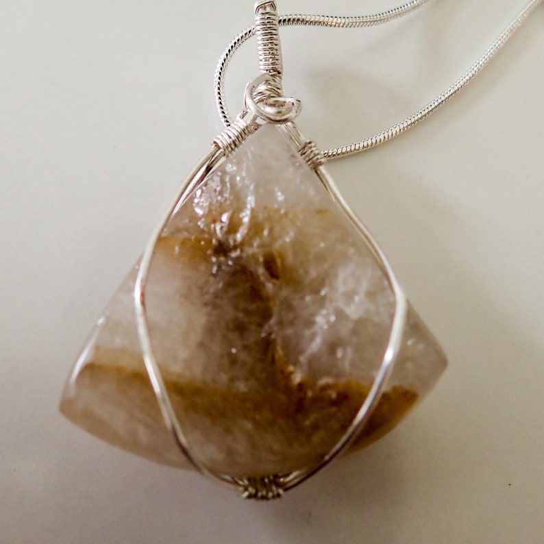 Wire Wrapped Quartz Pendant wth 925 silver Chain FREE SHIPPING Wrapping wire is plated