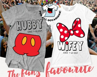 5aaf39dce Disney shirts, Couples shirts, Hubby Wifey Personalized, Custom Disney  Shirts, Honeymoon Shirts, Just Married Shirts, Husband and Wife tees