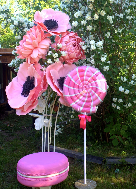 Giant Pink Candy Flowers Backdrop Photo Props Wedding Backdrop Decor Giant Macaroon Fake Candy Props Sweet Theme Party Decoration Lollipop
