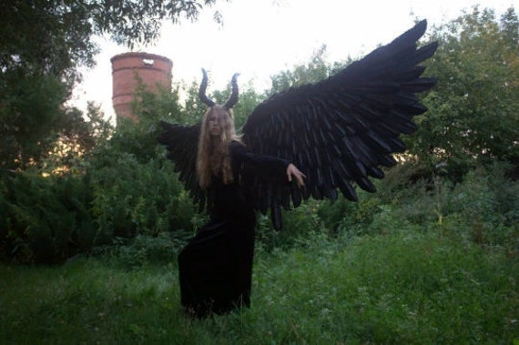 Large black maleficent costume wings