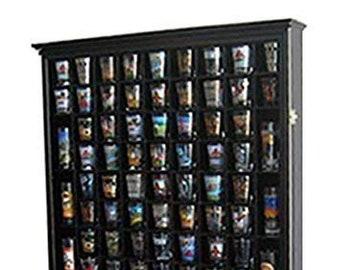 Black Large Mirror Backed and 7 Glass Shelves Shot Glasses Display Case Holder Cabinet
