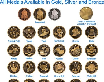 Scholastic Medal Set - High Relief Gold Silver Bronze Medals - Perfect Attendance medals - Pinewood Derby medal - Graduate medal - Reading