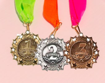 Set of 3 Star Award Medal on ribbon, 1st 2nd 3rd, Sports Awards, School Awards, Booster Club, Event Medal Award