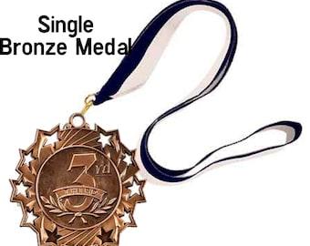 Single Bronze Star Award Medal on ribbon, 1st 2nd 3rd, Sports Awards, School Awards, Booster Club, Event Medal Award