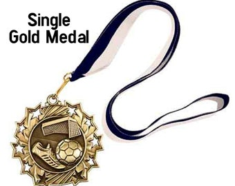 Single Gold Star Award Medal on ribbon, 1st 2nd 3rd, Sports Awards, School Awards, Booster Club, Event Medal Award