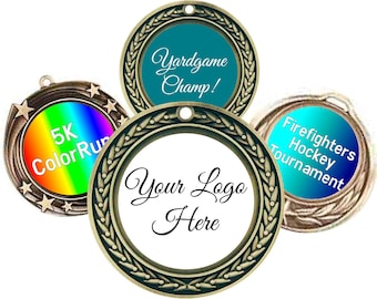 Custom Event Insert Medals - Personalized Medals - Custom Gold Silver Bronze Medals - Includes Ribbon - Personalized Event Awards