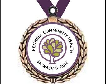 Custom Gold Kennedy Community Health medal with purple ribbon