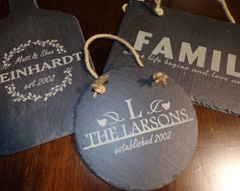 Personalized Slate Sign - Last Name Sign - Family Name Sign - Wedding Name Sign - Engraved Slate Door Sign