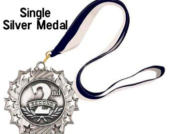Single Silver Star Award Medal on ribbon, 1st 2nd 3rd, Sports Awards, School Awards, Booster Club, Event Medal Award