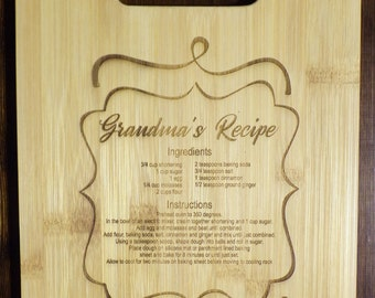 Grandmas Recipe Engraved Cutting Board - Personalized Recipe Cutting Board - Personalized Wedding Recipe Cutting board - Mothers Day Gift
