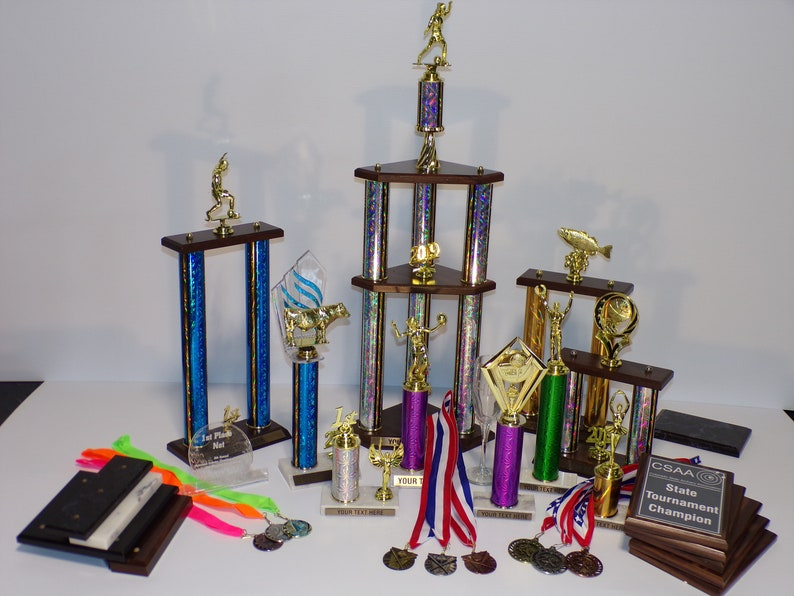 Custom Engraved single column trophy with trim, scholastic trophy golf  trophy, bowling trophy, fantasy football trophy