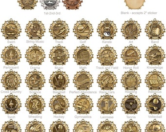 Gold, Silver and Bronze Sports Medals: Wrestling Medals, basketball medals, tennis medals, baseball medals, Lots of options, most sports