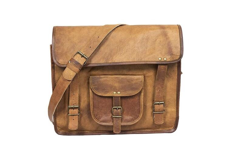 b77c7459b3ec Large Hand Made Leather Satchel Tan Briefcase Laptop Portfolio Messenger  Bag Real Leather Portfolio Attache