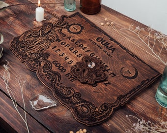 Wood Ouija board  Cthulhu, Halloween Party, Occult practice, Spirit game for talking to the souls of the dead, Witch craft, Vintage board