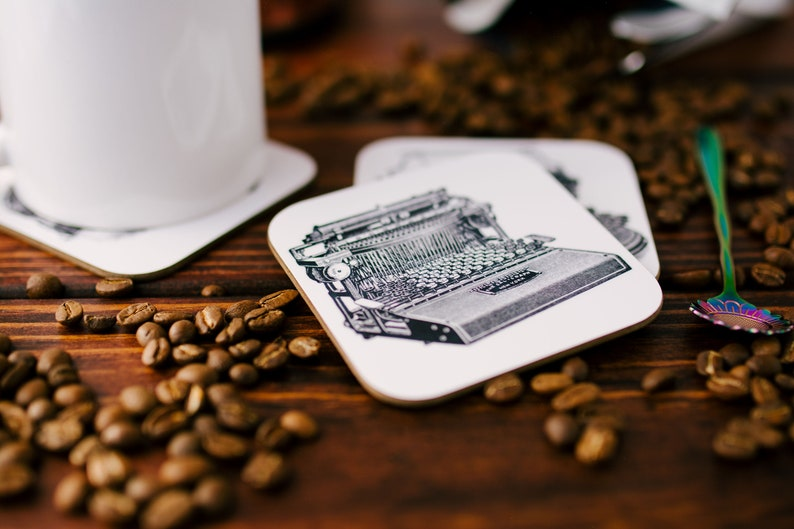 Author Gifts for Bookworms Editor and Writer Coaster Set Gift for Authors Book Coasters Literature Coasters Typewriter Coasters