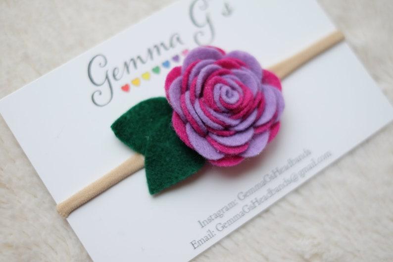 Felt Rose Headband Two-tone flower Headband or Hair Clip Baby Shower Gift Easter Felt Flower Headband
