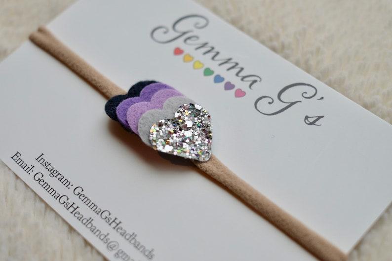 Baby Girl Glitter Headband or Hair Clip Baby Shower Gift Easter Felt Heart Purple Ombre Headband