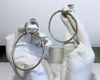 Handmade all sterling silver dangle big hoop loop stud earrings