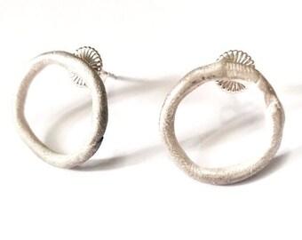 Handmade all sterling silver small hoop stud earrings